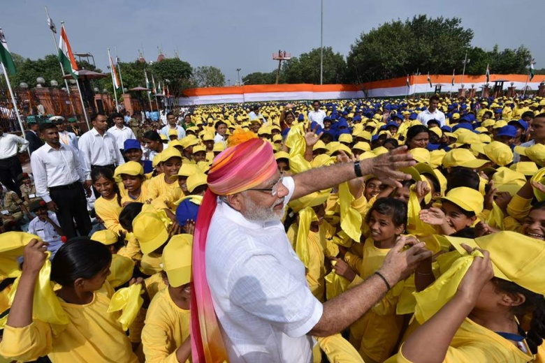 Image: Narendra Modi at India's seventieth independence. Narendra Modi Flickr/CC BY-SA 2.0.