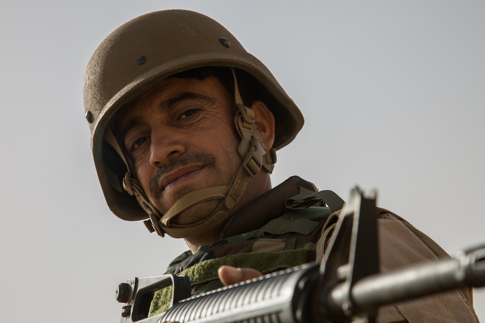 Peshmerga soldier during react to fire training near Erbil, Iraq. DVIDSHUB/Public domain