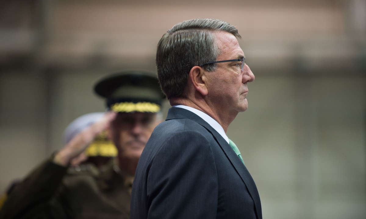 Secretary of Defense Ash Carter leads the Strategic Command change of command ceremony. DVIDSHUB/Public domain