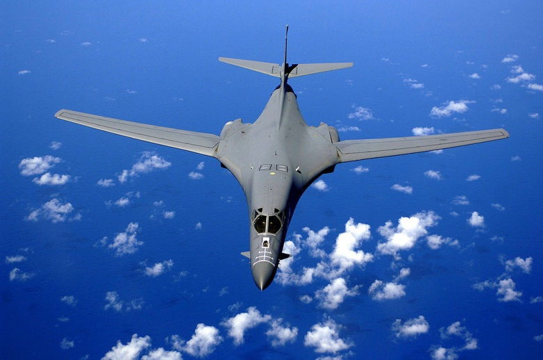 A B-1B Lancer soars over the Pacific Ocean as it maneuvers in for aerial refueling by a KC-135 Stratotanker on September 30, 2005. Wikimedia Commons/U.S. Air Force