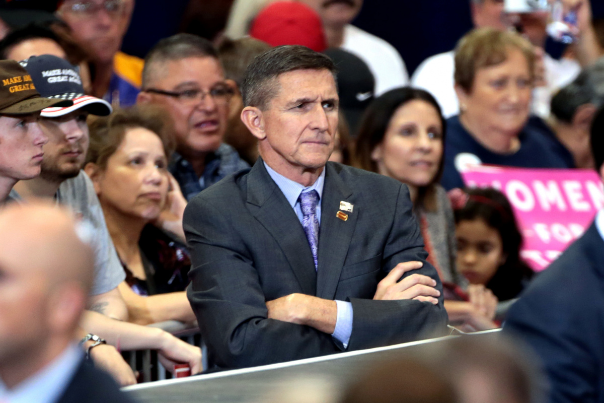 Michael Flynn at a campaign rally for Donald Trump in Phoenix, Arizona. Flickr/Creative Commons/Gage Skidmore