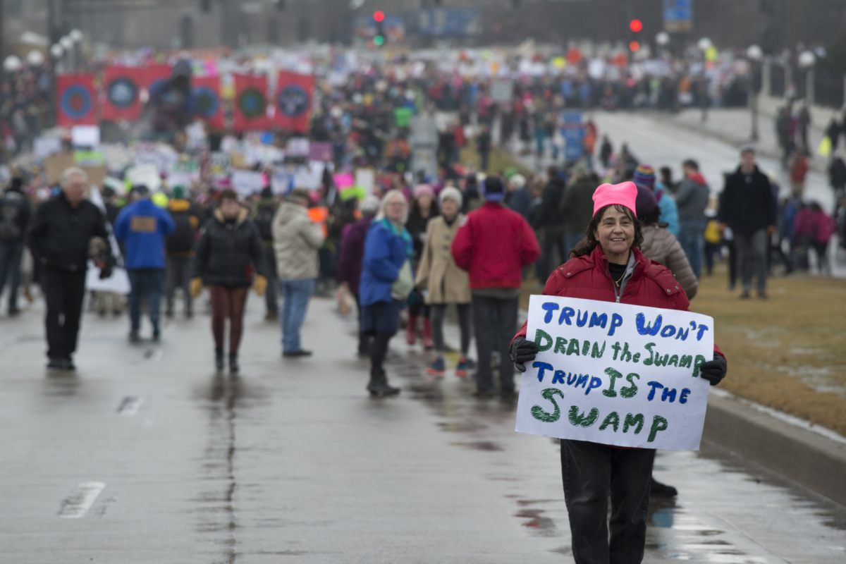 Over 90,000 people gathered in St. Paul and marched to the Minnesota capitol to protest President Donald Trump.