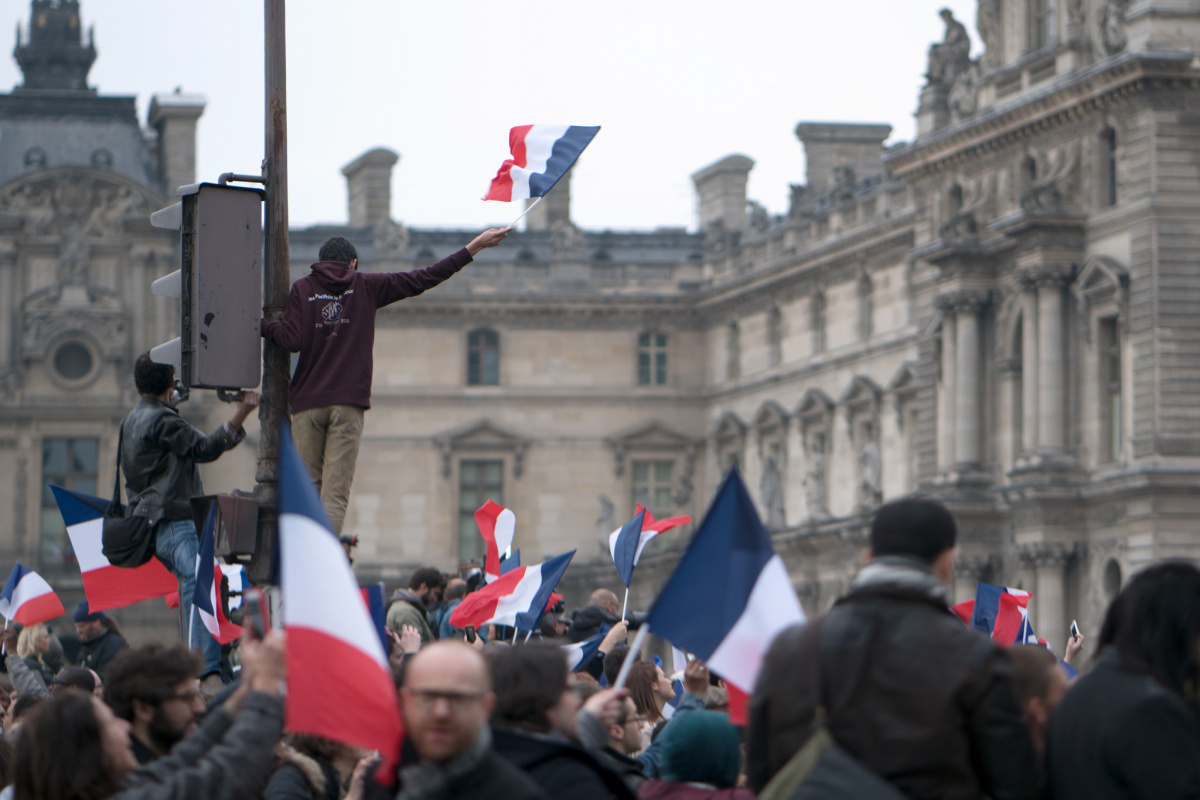 French Election: Celebrations for Macron's victory at The Louvre. Flickr / Laurie Shaull