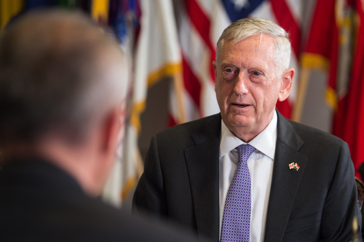 Defense Secretary Jim Mattis speaks with Croatia's Minister of Defence Damir Krstičević during a meeting at the Pentagon in Washington, D.C., July 12, 2017. Flickr / Department of Defense