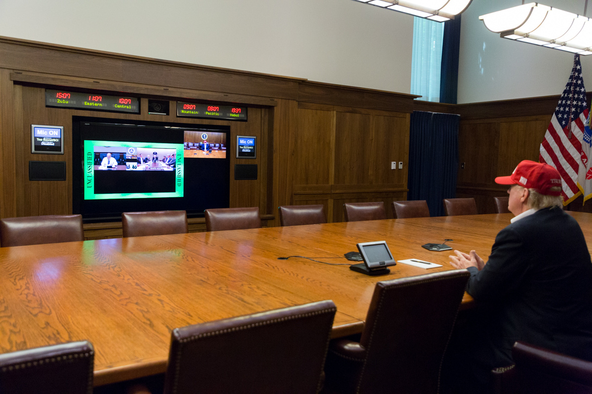 President Donald J. Trump leads a video teleconference monitoring the current tropical storm conditions in southeastern Texas | August 27, 2017 (Official White House Photo by Shealah Craighead). Flickr / The White House