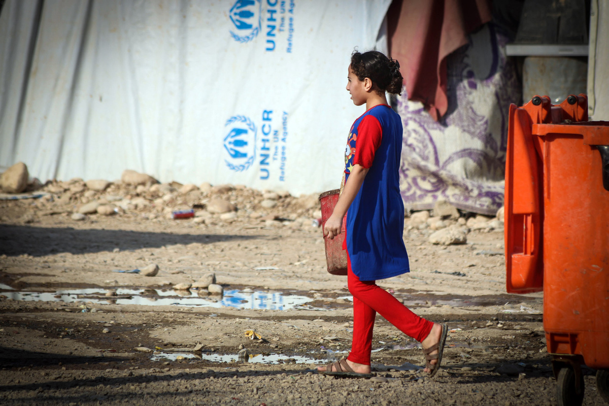 Girl in a refugee camp.