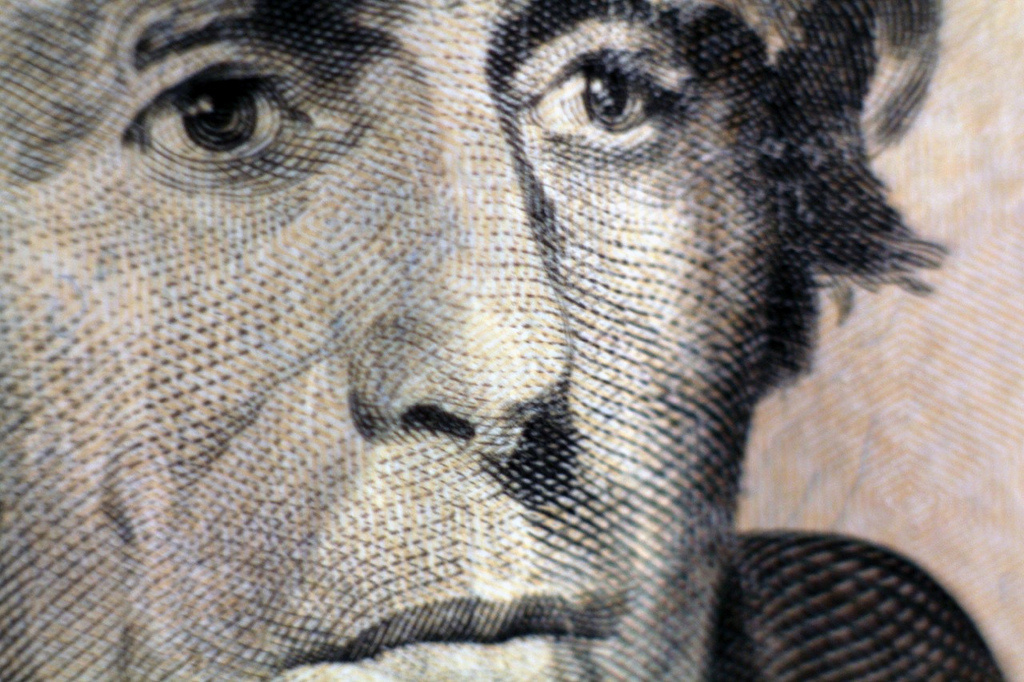 Andrew Jackson's face as printed on a $20 bill
