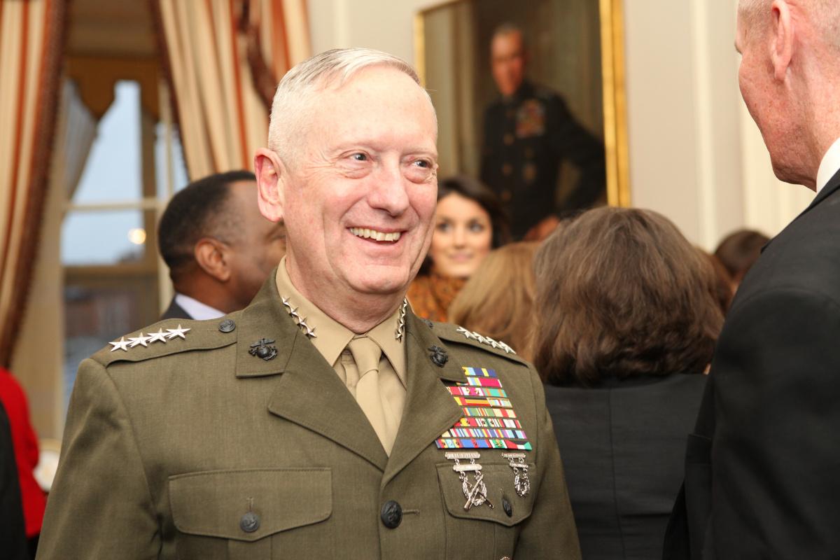 Gen. James N. Mattis speaks with guests during a retirement reception. DVIDSHUB/Public domain