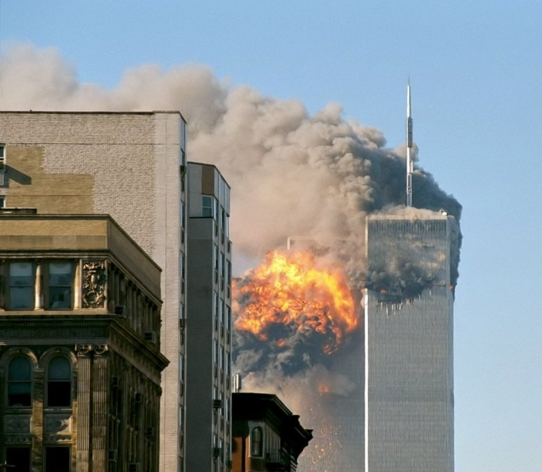 United Airlines Flight 175 crashes into the south tower of the World Trade Center complex in New York City during the September 11 attacks. Wikimedia Commons/Robert J. Fisch