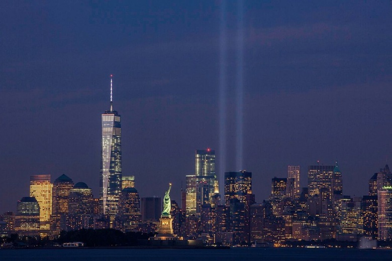 The September 11th Tribute in Light from Bayonne, New Jersey. Wikimedia Commons/Anthony Quintano