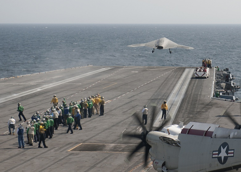 Image: An unmanned combat air system demonstrator launches from the aircraft carrier USS George H.W. Bush/ DVIDSHUB