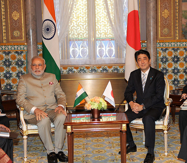 Narendra Modi and Shinzo Abe. Wikimedia Commons/Narendra Modi