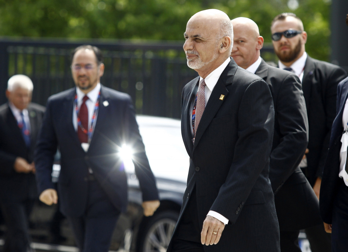 Afghanistan's President Ashraf Ghani arrives at the PGE National Stadium, the venue of the NATO Summit, in Warsaw, Poland