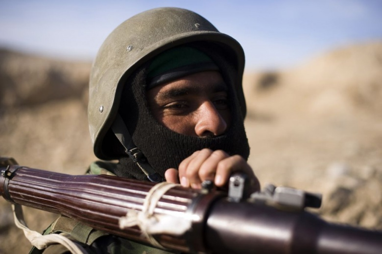An Afghan National Army soldier holds tightly to a rocket propelled grenade launcher. Flickr/Georgia National Guard