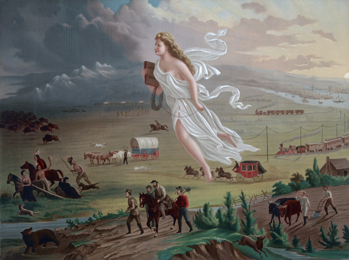 "This painting shows ""Manifest Destiny"" (the belief that the United States should expand from the Atlantic to the Pacific Ocean. In 1872 artist John Gast painted a popular scene of people moving west that captured the view of Americans at the time. Wikimedia Commons"