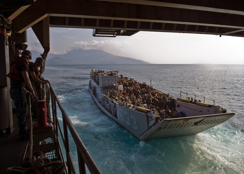 Landing Craft Utility 1633 exits USS Tortuga in the South China Sea. Flickr/U.S. Navy