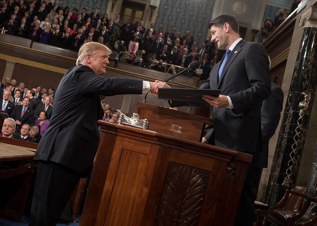 President Donald Trump shaking hands with Speaker of the House Paul Ryan. Wikimedia Commons/Public domain