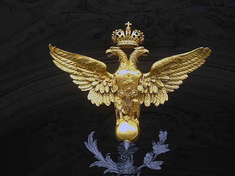 Image: Russian arms at the Winter Palace. Photo via Pixabay/jorisamonen.