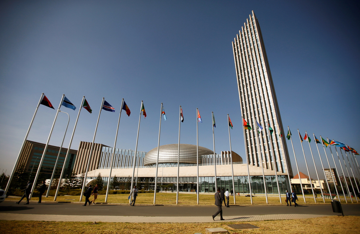 A general view shows the headquarters of the African Union (AU) building in Ethiopia's capital Addis Ababa