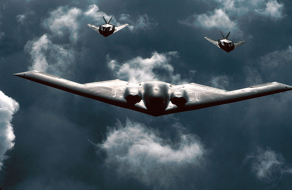 A B-2 Spirit bomber is followed by two F-117 Nighthawks during a mission. Wikimedia Commons/U.S. Air Force