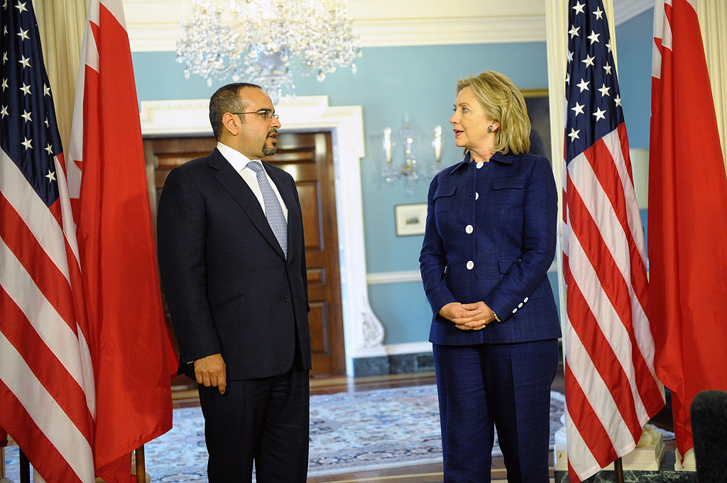 U.S. Secretary of State Hillary Rodham Clinton meets with Bahraini Crown Prince Salman bin Hamad Al-Khalifa. Wikimedia Commons/Department of State