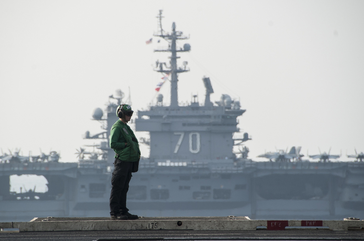 Aircraft carrier USS Carl Vinson during Inherent Resolve.