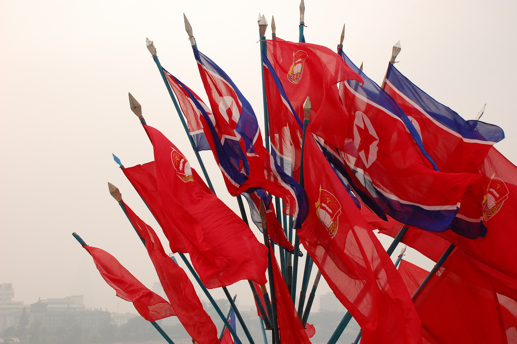 North Korean flags. Flickr/Creative Commons/@fljckr