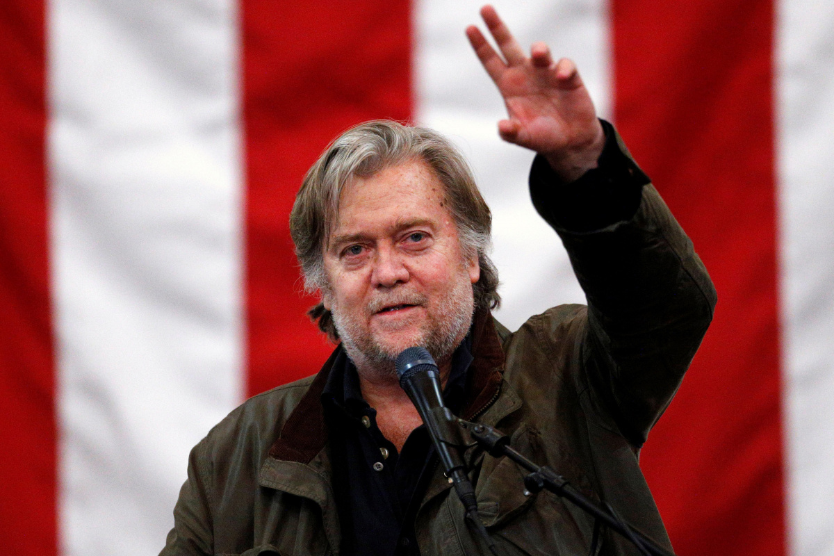 Former White House Chief Strategist Steve Bannon speaks during a campaign rally for Republican candidate for U.S. Senate Judge Roy Moore in Midland City