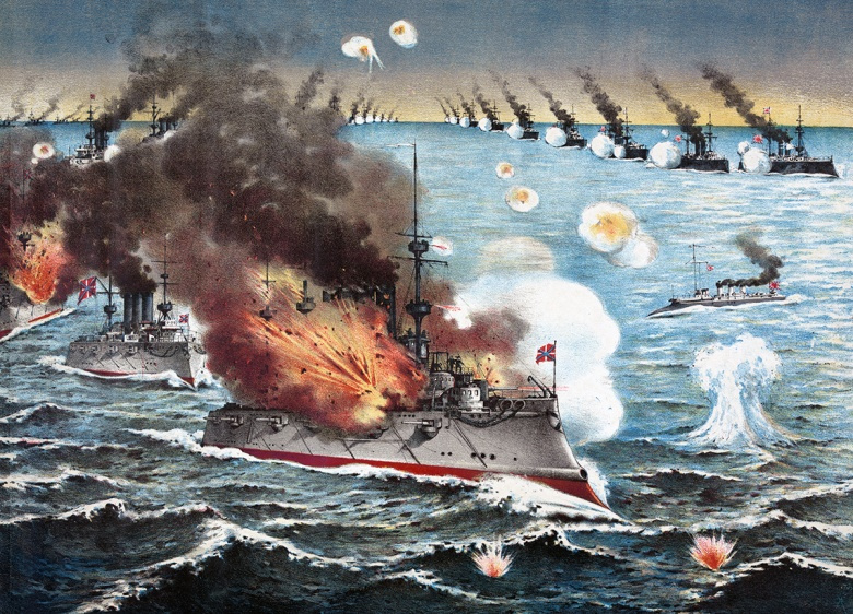 Image: A Russian ship being attacked during the Battle of Port Arthur. Public domain.