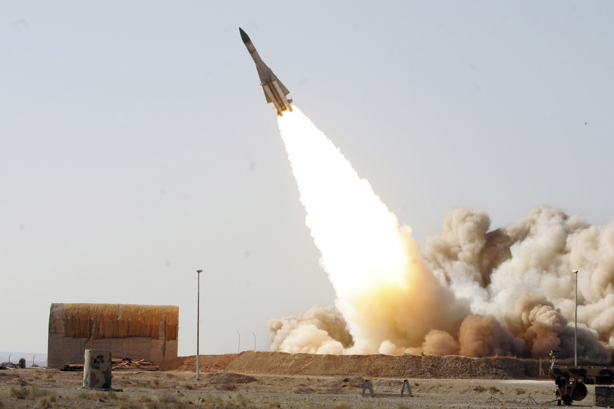 An undated photo released by Iran's Army on November 20, 2010 shows an anti-aircraft missile S-200 being launched during a war game from an unknown location in Iran.