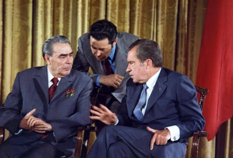 Image: Nixon and Brezhnev. White House photo, public domain.