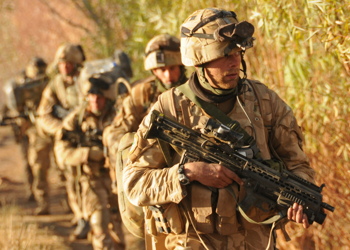British Royal marine commandos take part in Operation Sond Chara, the clearance of Nad-e Ali District of Helmand province in southern Afghanistan by Afghan national security force and troops deployed with the International Security Assistance Force 42-Commando in late December.
