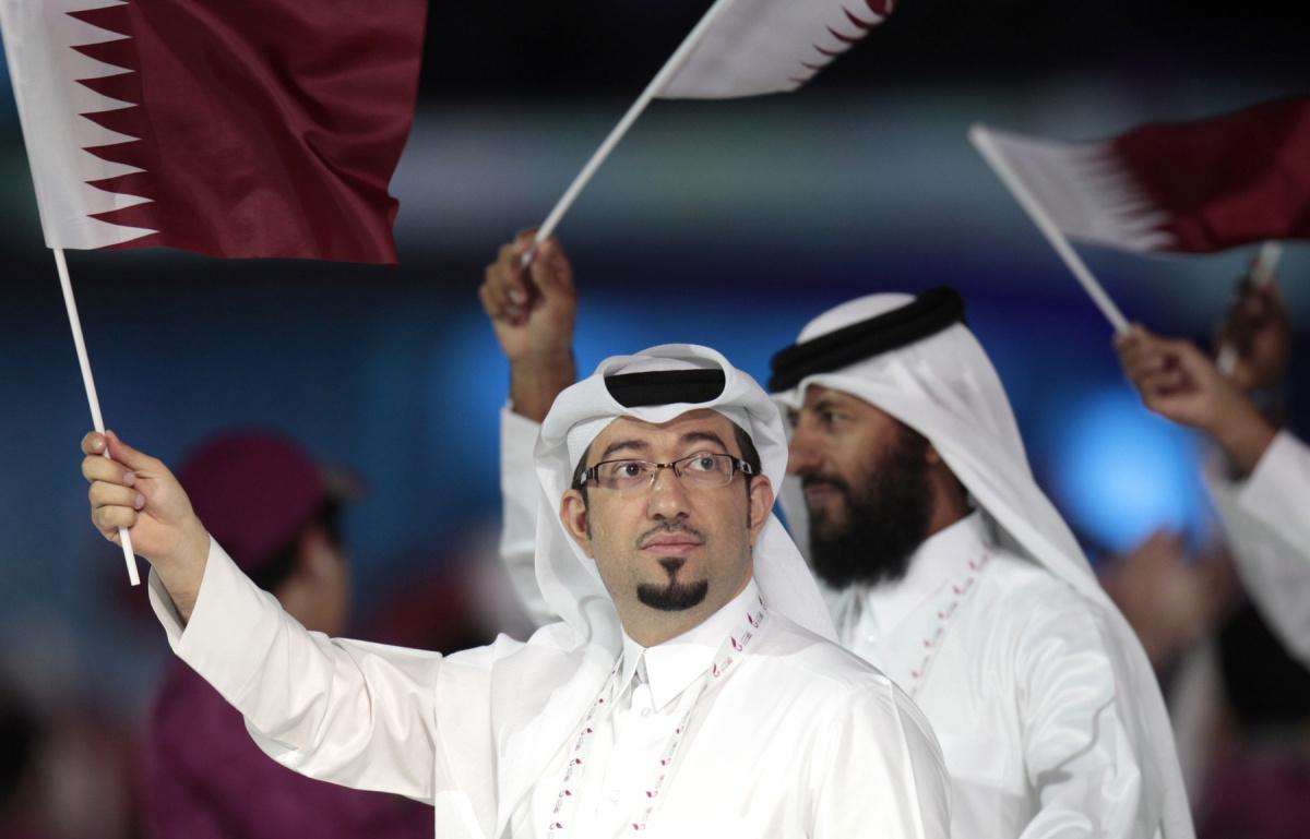 Qatari athletes during the Arab Games Opening Ceremony. Flickr/Creative Commons/Doha Stadium Plus Qatar