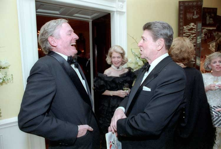 President Ronald Reagan and conserative author/commentator William F. Buckley, Jr. at President Reagan's birthday party, White House Residence. Wikimedia Commons/The White House