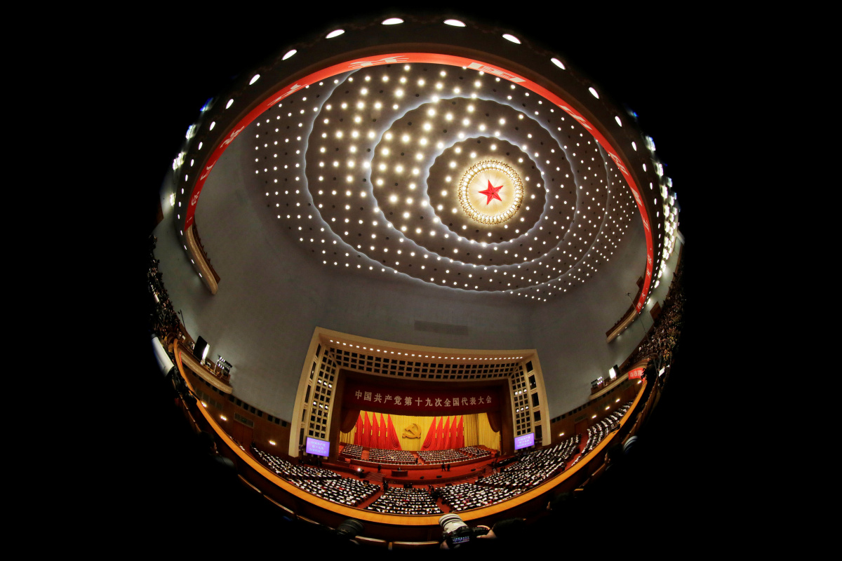 A general view shows delegates attending the opening of the 19th National Congress of the Communist Party of China at the Great Hall of the People in Beijing