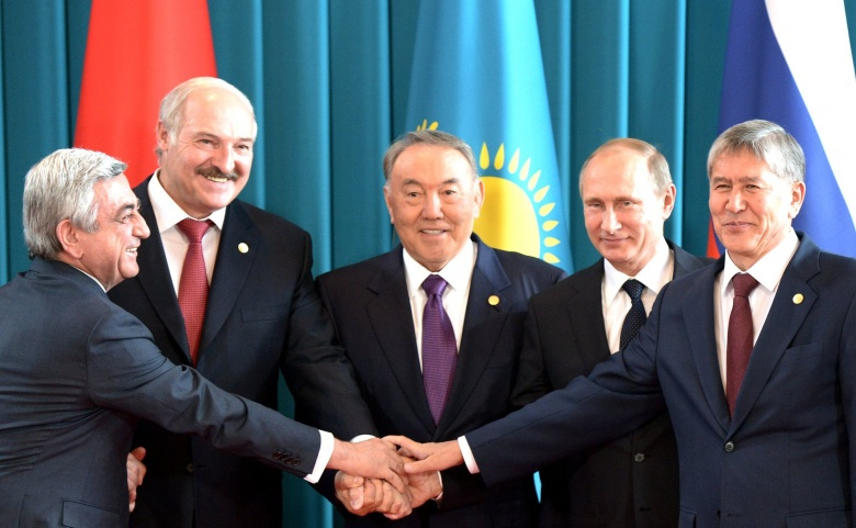 President of Armenia Serzh Sargsyan, President of Belarus Alexander Lukashenko, President of Kazakhstan Nursultan Nazarbayev, President of Russia Vladimir Putin and President of Kyrgyzstan Almazbek Atambayev. Kremlin.ru