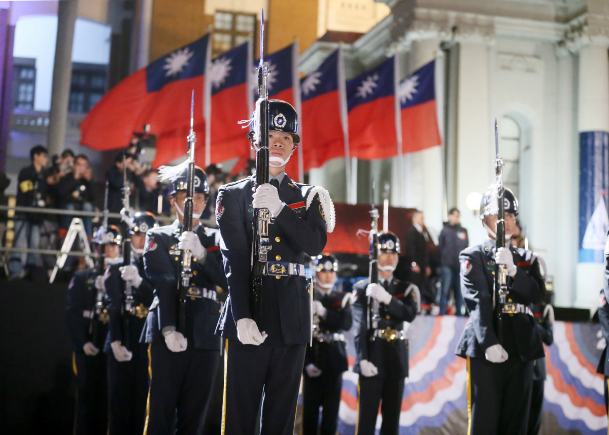 2017 New Year flag-raising ceremony in front of Taipei's Presidential Office Building. Flickr/Taiwan Presidential Office