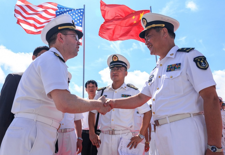 A welcoming ceremony for USS Shiloh's arrival in Zhanjiang, China. Flickr/U.S. 7th Fleet