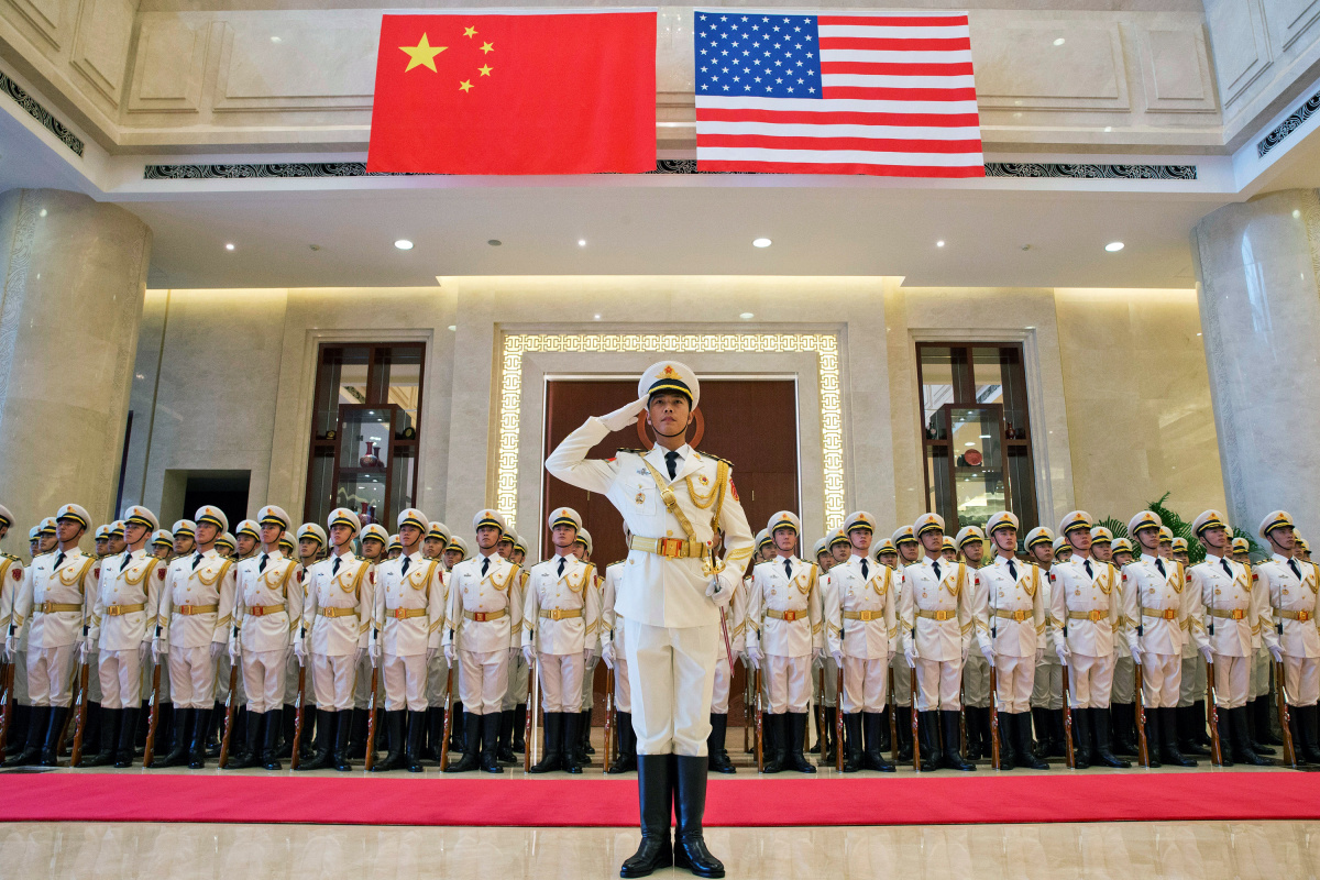 A navy honor guard prepares for a welcome ceremony for U.S. Chief of Naval Operations Admiral John Richardson, at the Chinese Navy Headquarters in Beijing, China