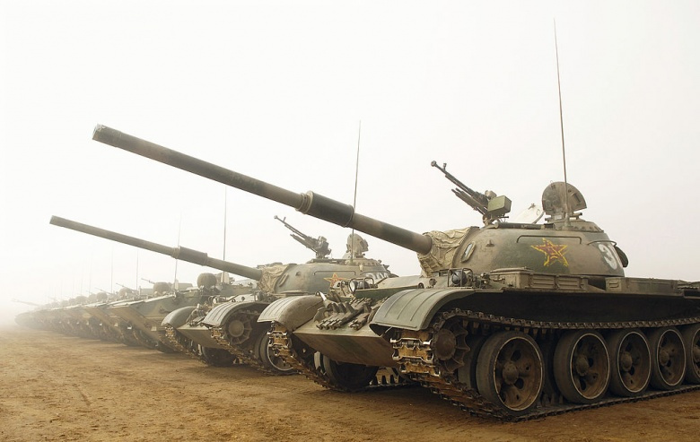 Chinese tanks in formation at Shenyang training base in China. Wikimedia Commons/U.S. Air Force