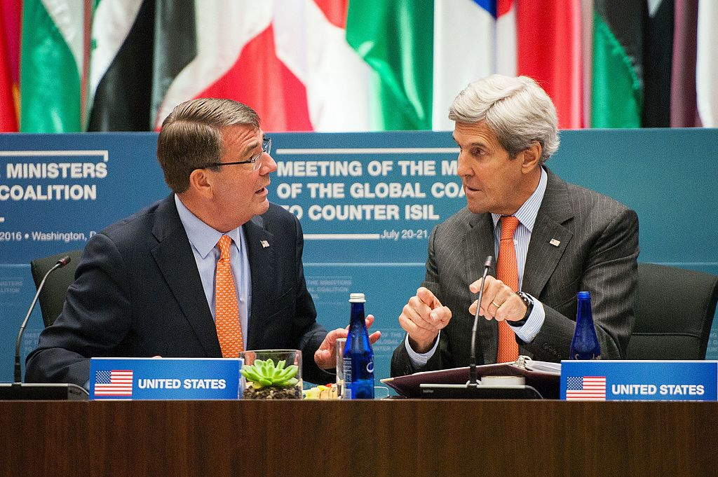 U.S. Secretary of State John Kerry and Secretary of Defense Ashton Carter co-chair the Counter-ISIL Ministerial Joint Ministerial Plenary. Wikimedia Commons/Department of State