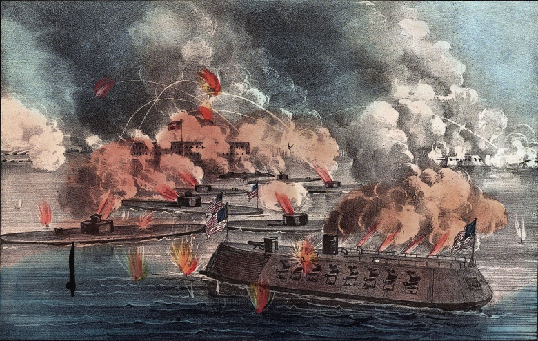 """First Battle of Charleston Harbor,"" hand-colored lithograph by Currier & Ives. Wikimedia Commons/Public domain"