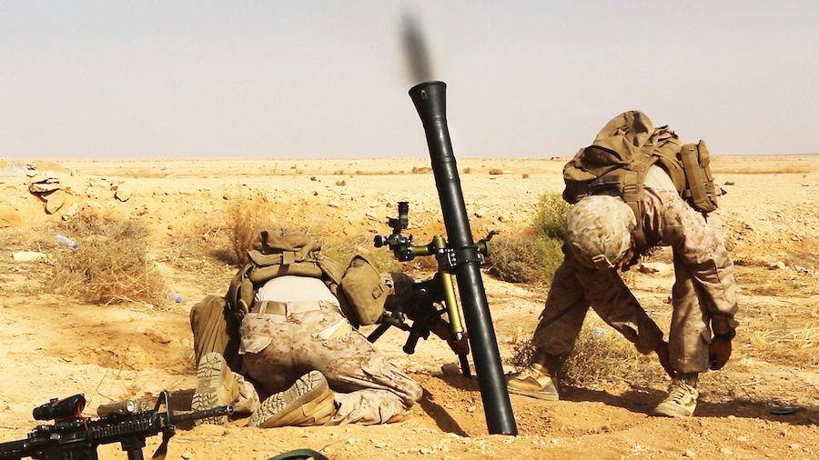 U.S. Marines fire a M252A2 81-mm mortar system during a live-fire training mission. Flickr/U.S. Department of Defense