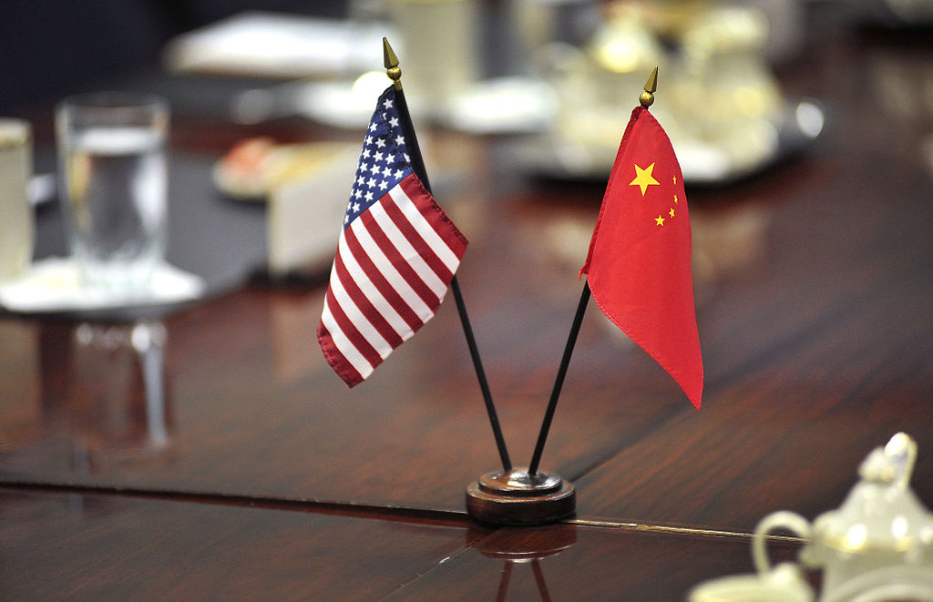 U.S. and Chinese flags during a meeting at the Pentagon, 2012. Wikimedia Commons/Department of Defense