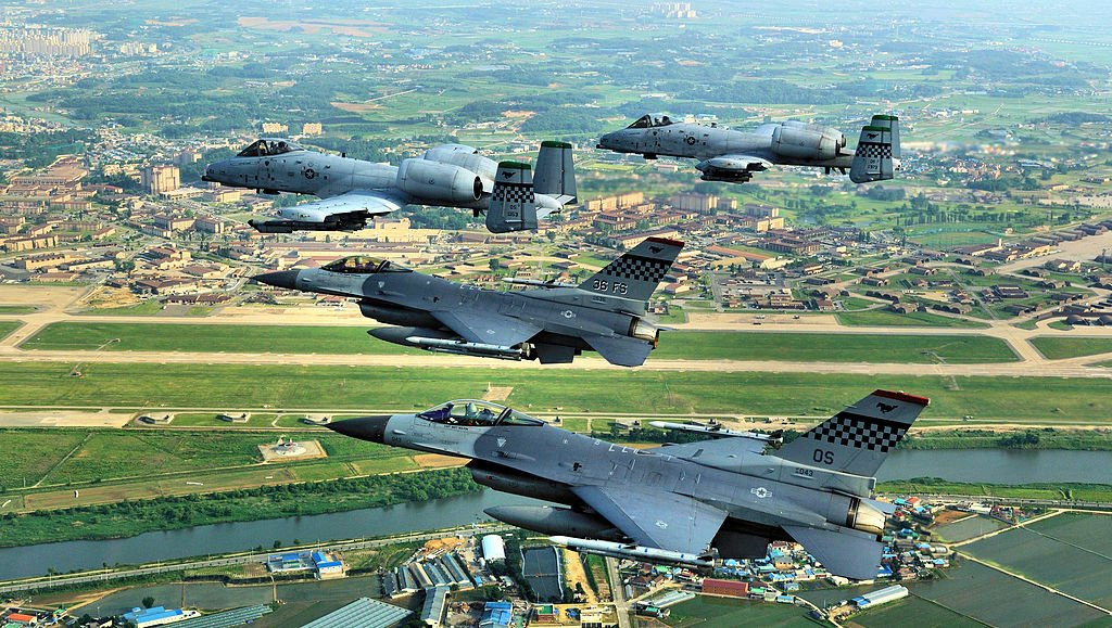 F-16 Falcons and A-10 Thunderbolt IIs fly over the Republic of Korea. Wikimedia Commons/U.S. Air Force