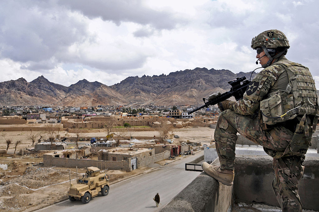 Rooftop security in Farah City, Afghanistan. Wikimedia Commons/Defense.gov