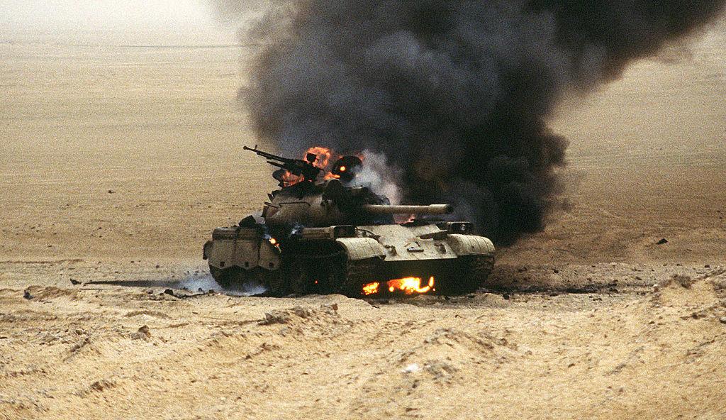 An Iraqi Type 69 main battle tank burns during Operation Desert Storm. Wikimedia Commons/U.S. Navy