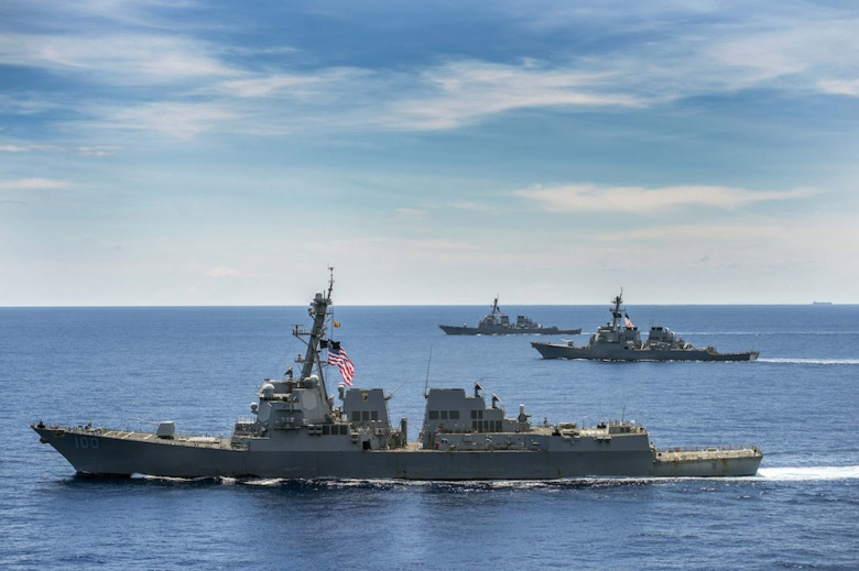 The Arleigh Burke–class guided-missile destroyers USS John S. McCain, USS Kidd and USS Stethem operate in the South China Sea. Flickr/U.S. Pacific Fleet