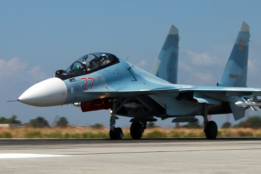 Russian military aircraft at Latakia, Syria. Wikimedia Commons/Mil.ru