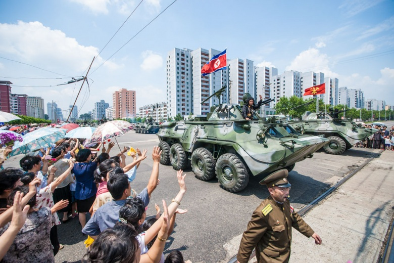 Tank in a Victory Day parade, Pyongyang. Wikimedia Commons/Uri Tours